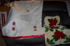 poinsettia shower curtain and toilet rugs in Conroe, Texas