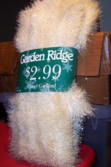 Gold and white garland in Conroe, Texas