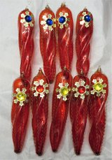 STUNNING RED HAND BLOWN GLASS ORNAMENTS - GERMANY in Bolingbrook, Illinois