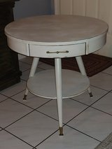 I just finished this beautiful vintage round 3 leg table. All Wood. Distressed in Tomball, Texas
