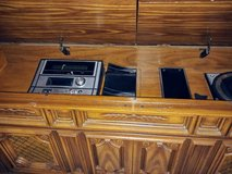 Wooden vinyl records and stero console in Tinley Park, Illinois