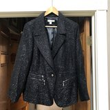 Laura Ashley Black Sparkly Jacket with Silver Zippers - 2X in Plainfield, Illinois