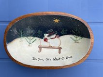 Hand Painted Snowman Wooden Bowl in Byron, Georgia