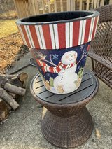 """Snowman and woodland animals pot by """"studio m"""" in St. Charles, Illinois"""