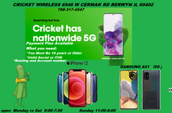 CRICKET WIRELESS 6946 W CERMAK RD IN BERWYN IL 60402 HAVE AVAILABLE!! 5 DEVICES & PAYMENT PLAN in Westmont, Illinois
