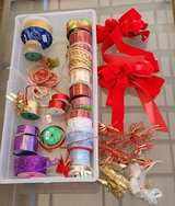 Large Assortment of Glittery Christmas Holiday Wired Edged Ribbon and Holiday Bows Christmas Dec... in Camp Pendleton, California