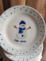 """Snowman Plates, 11"""", Never used in Chicago, Illinois"""