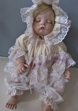 """Porcelain Doll Blonde Sugar Britches Signed 19 3/4"""" Christening Doll Boots Tyner in Fort Campbell, Kentucky"""