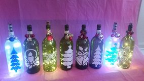 Lighted Christmas wine bottles in Westmont, Illinois