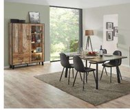 United Furniture - Dining Set Ikaro - China with Lights- Table - 4 Chairs including delivery in Ramstein, Germany