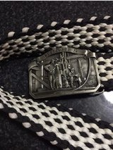 """VINTAGE 1970's HUGHES TOOL CO. PEWTER BELT BUCKLE. (Limited Edition). With 46"""" Black/White Count... in Aurora, Illinois"""
