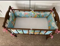 ANTIQUE SMALL BABY CRIB BASSINET. With Mattress. 36x18x30. EXCELLENT FOR DOLLS/STUFFED ANIMALS! in Aurora, Illinois