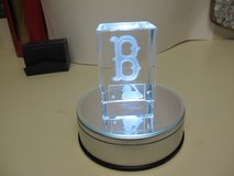 3D ETCHED CRYSTAL GLASS MLB WITH ROTATING LIGHTED BASE in Cherry Point, North Carolina