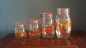 """Vintage - 1970's 'Spice of Life"""" pattern - Glass Canisters in Naperville, Illinois"""