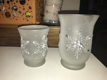 2 Frosted Snowflake Candle Holders in Joliet, Illinois