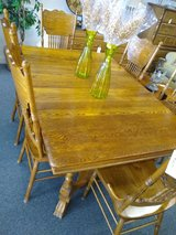 Antique Looking Oak Dining Table, 6 Chairs, 2 Leaves in Bartlett, Illinois