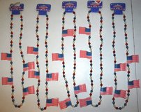 "New! FIVE Patriotic Flag / Bead 42"" Amscan Necklaces in Naperville, Illinois"