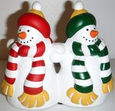PartyLite Ceramic Snowmen Pillar Candle Holder in Naperville, Illinois