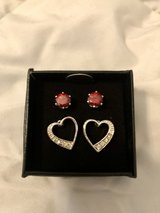 Sterling Silver Valentines Heart Stud Earring Set in Okinawa, Japan