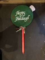 Brand new outdoor Xmas ornament sign in Plainfield, Illinois