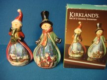 NEW PAIR OF KIRKLAND CERAMIC SNOWMAE in Yorkville, Illinois