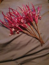 6 Stems of Hot Pink Feathered Beaded Foliage for Crafting in Lakenheath, UK