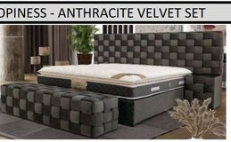 United Furniture - Opiness Euro QS Bed in Cream & Anthracite with Mattress & Delivery in Wiesbaden, GE