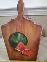 Decorative wooden cutting board, with hand-painted watermelon in Alamogordo, New Mexico