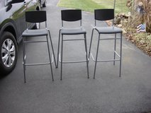 SET OF THREE METAL AND PLASTIC BAR STOOLS in Chicago, Illinois