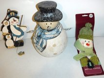 Snowman Christmas Holiday Wood & Ceramic Decor + Bottle Topper in Naperville, Illinois