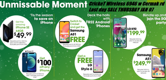 Cricket Wireless 6946 W CERMAK RD HOLIDAY SWITCH OVER PROMO ENDS THURSDAY JAN 07 @ 7:30PM in Westmont, Illinois