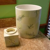RAINIER CERAMIC WASTEBASKET & DISPOSABLE CUP HOLDER BATHROOM in Plainfield, Illinois