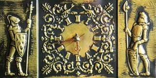 Italian table/wall-clock with medieval soldiers in Okinawa, Japan