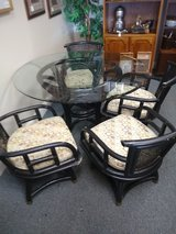 Rattan Glass Top Table and 4 Chairs in St. Charles, Illinois