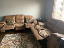 Leather reclining couch and loveseat set in Naperville, Illinois