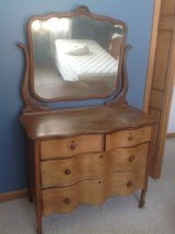 Antique oak dresser with mirror in Naperville, Illinois