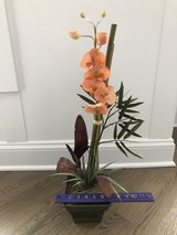 Artificial Orchid and Bamboo Flower Arrangement in Green Metal Container in Westmont, Illinois