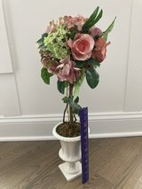 Silk Flower Arrangement with Dusty Pink Flowers in White Ceramic Vase in Westmont, Illinois