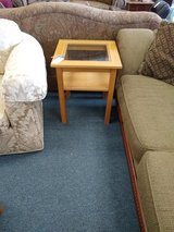 Light Wood Glass Top Side Table in St. Charles, Illinois