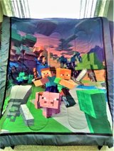 Minecraft Twin/Full Comforter w/ Matching Framed Poster VVGC -Preowned in Plainfield, Illinois