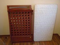 Raggasi rosewood baby crib & mattress in Travis AFB, California