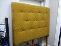 Tall Queen Gold Upholstered Headboard in Naperville, Illinois