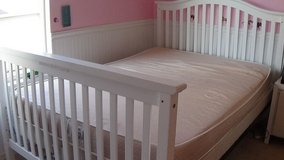White Full Sized Bed/convertible crib with like new full sized mattress in Chicago, Illinois