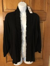 New Style & Co Black Ruffled Short Sweater - 2X in Plainfield, Illinois