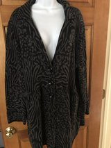 Style & Co Black & Gray Print Long Cardigan with Button Front - 2X in Plainfield, Illinois