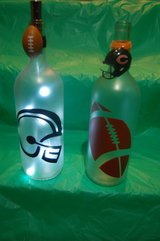 Large lighted football themed bottles in Plainfield, Illinois