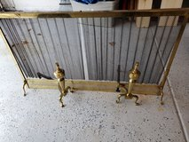 """Large Brass fireplace cover screen with 2 andirons 53"""" long by 30"""" height in Naperville, Illinois"""
