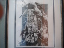 Drawing of an Indian Chief by listed artist Jame Lowell Miller (Jim Miller) in Yucca Valley, California