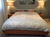 Bedroom king bed with two side tables set in Plainfield, Illinois