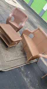 3pc great condition weather wicker patio furniture. chair little faders in Plainfield, Illinois